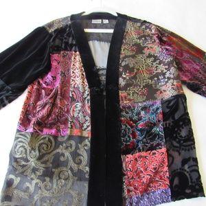 Chicos Asian Velvet Silk Blazer Burnout Quilted XL